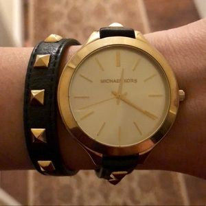 Michael Kors Gold Leather Double Wrap Stud Watch